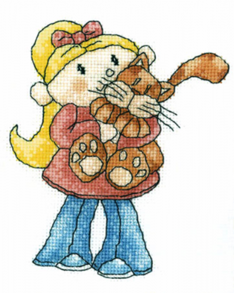 Little Stars Cat Cuddles Cross Stitch Kit